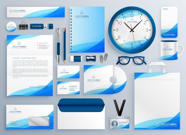 Ensemble de modèles de vecteur de papeterie affaires bleu moderne