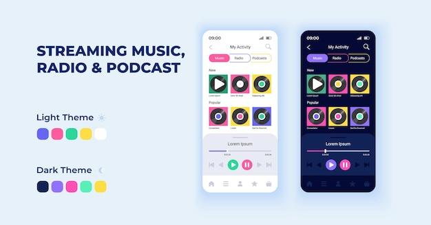 Ensemble de modèles vectoriels d'interface de smartphone de dessin animé en streaming de musique et de podcasts. conception de la page d'écran de l'application mobile en mode nuit et jour. interface d'écoute radio pour l'application. affichage du téléphone avec caractère plat