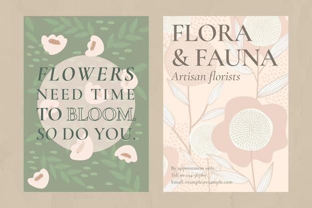 Ensemble de modèles vectoriels de motifs de fleurs rétro pour affiche