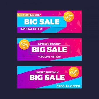 Ensemble de modèles de vente d'offres spéciales. vente de bannière. promotion des achats. illustration vectorielle