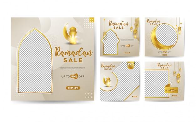 Ensemble de modèles de vente ramadan kareem avec croissant de lune dorée et lanternes suspendues pour publication sur les réseaux sociaux
