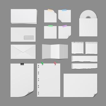 Ensemble de modèles vierges de fournitures de bureau en papier