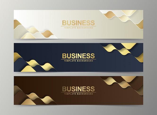 Ensemble de modèles web de bannière abstraite de luxe, bannière web d'en-tête horizontal