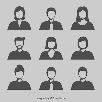 Ensemble moderne d'avatars de silhouette