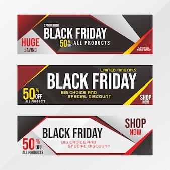 Ensemble moderne de bannière de vente vendredi noir