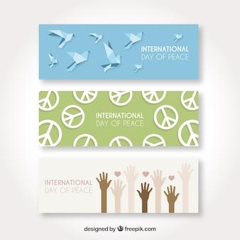 Ensemble moderne de bannières cool pour le jour de la paix