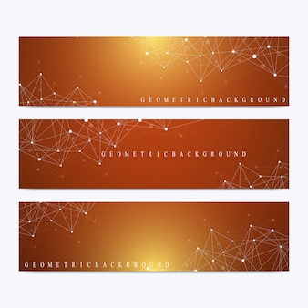 Ensemble moderne de bannières. présentation abstraite géométrique. adn moléculaire et fond de communication pour la médecine, la science, la technologie, la chimie. points cybernétiques. lignes plexus.