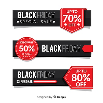 Ensemble moderne de bannières vendredi noir avec un design plat