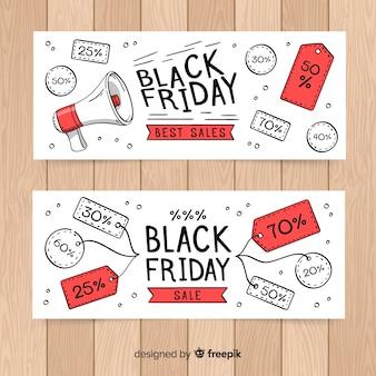 Ensemble moderne de bannières de vendredi noir dessinés à la main