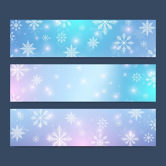 Ensemble moderne de bonne année de bannières vectorielles. fond de noël. modèles de conception avec des flocons de neige. surface de cartes d'invitation.