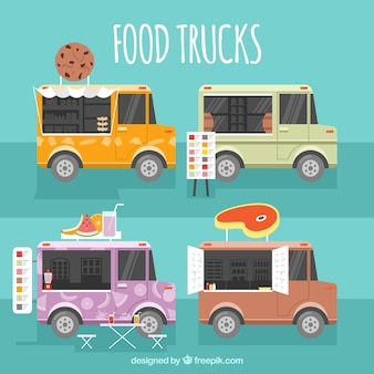 Ensemble moderne de camions à linge plat