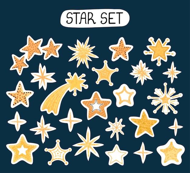 Ensemble moderne coloré de vecteur avec des illustrations de dessin à la main d'autocollants en forme d'étoile