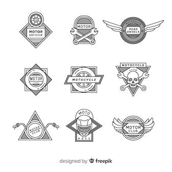 Ensemble moderne de logos moto dessinés à la main
