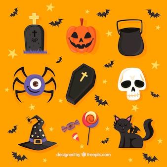 Ensemble moderne d'éléments amusants de halloween