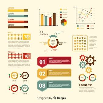 Ensemble moderne d'éléments infographiques au design plat