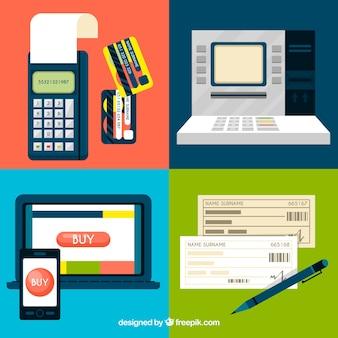 Ensemble moderne d'éléments de paiement en ligne