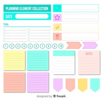 Ensemble moderne d'éléments de planification colorés