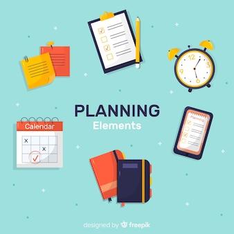 Ensemble moderne d'éléments de planification