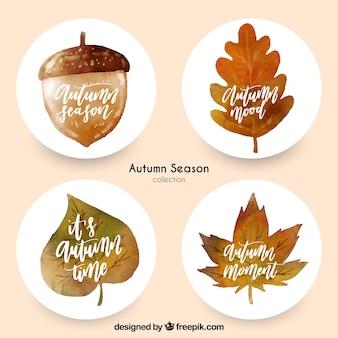 Ensemble moderne d'étiquettes d'automne d'aquarelle