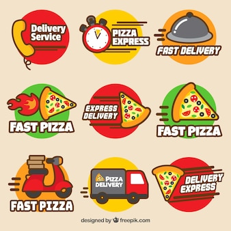 Ensemble moderne d'étiquettes de livraison de pizza