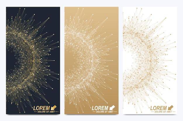 Ensemble moderne de flyers vectoriels. présentation abstraite géométrique avec mandala doré. fond de molécule et de communication pour la médecine, la science, la technologie, la chimie.