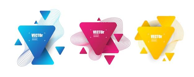 Ensemble moderne de jeu de formes abstraites. gradient triangle géométrique