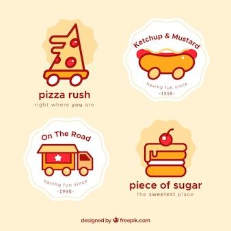 Ensemble moderne de logos de camions alimentaires amusants