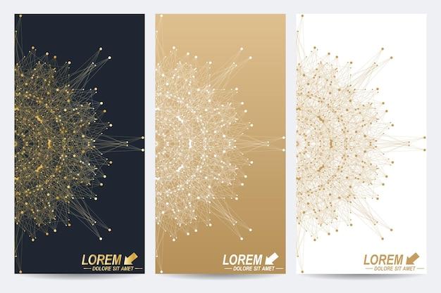 Ensemble moderne de molécule de flyers vectoriels et fond de communication géométrique abstrait rond doré fo...