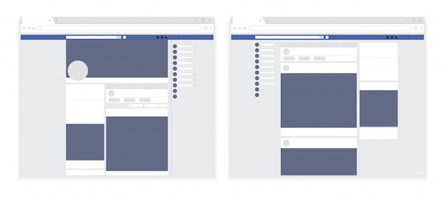 Ensemble moderne de page web de réseau social, modèle de cadres postaux, page web facebook