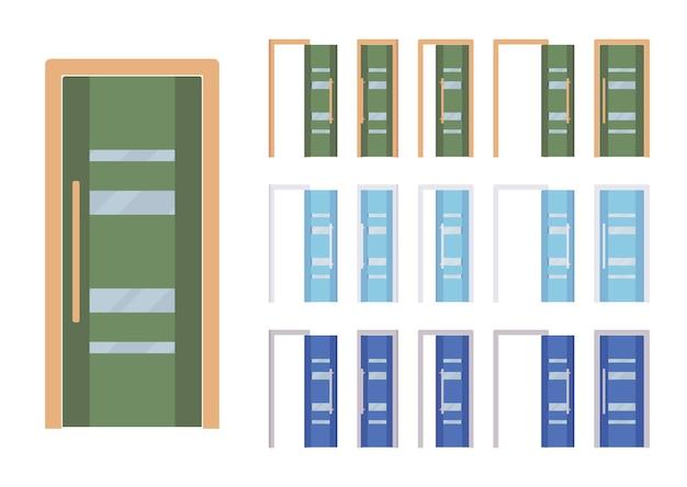 Ensemble moderne de portes, entrée de bâtiment, chambre