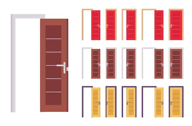 Ensemble moderne de portes, entrée du bâtiment, chambre