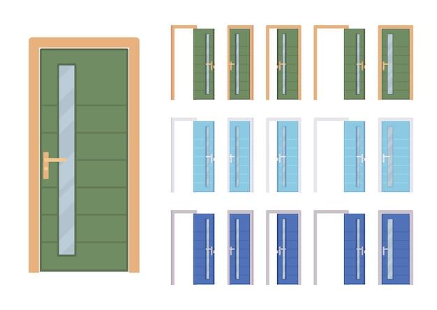 Ensemble moderne de portes avec verre, entrée du bâtiment, chambre