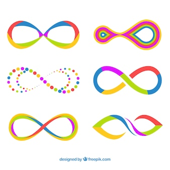 Ensemble moderne de symboles de l'infini coloré