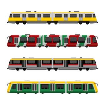 Ensemble moderne de trains urbains à grande vitesse