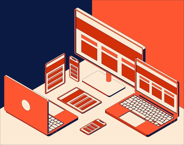 Ensemble de moniteur d'ordinateur isométrique, ordinateurs portables, tablettes et téléphones mobiles.