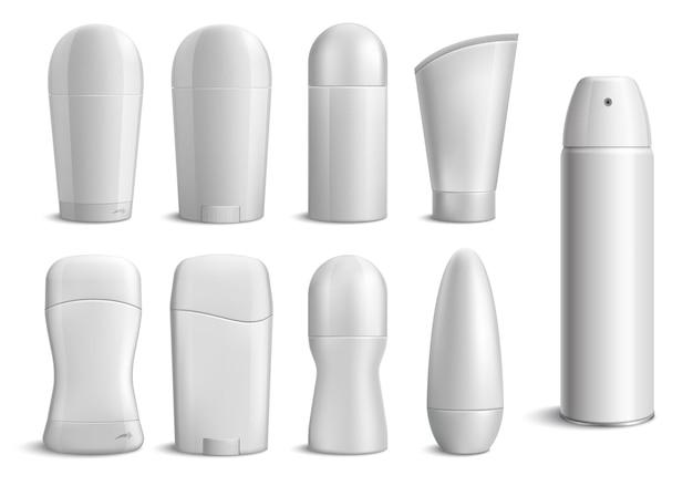 Ensemble monochrome de bouteilles de déodorant réalistes de différentes formes sur blanc isolé