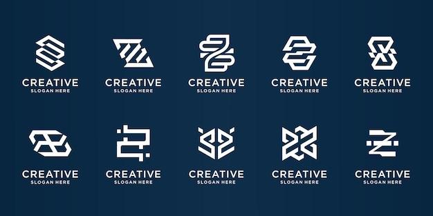 Ensemble de monogramme abstrait z logo.creative luxe élégant lettre initiale z logo collection inspiration