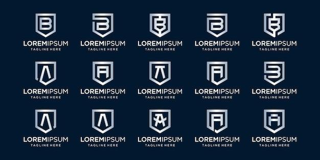 Ensemble de monogramme de lettre ba et combinaison de signe de bouclier symbolise la sécurité et la sécurité
