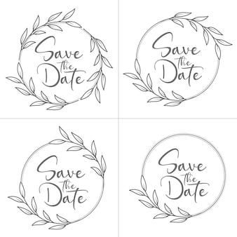 Ensemble de monogramme de mariage floral minimal de style cercle et cadre de mariage