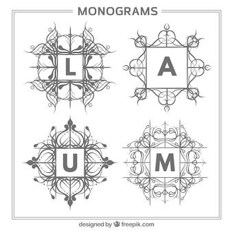 Ensemble de monogrammes floraux dessinés à la main