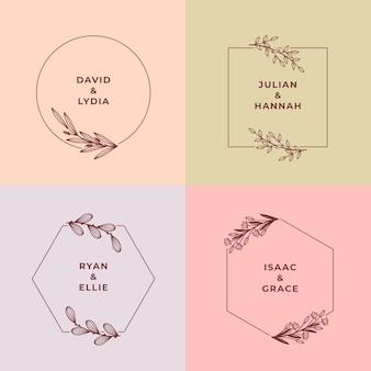 Ensemble de monogrammes de mariage de couleurs pastel minimalistes