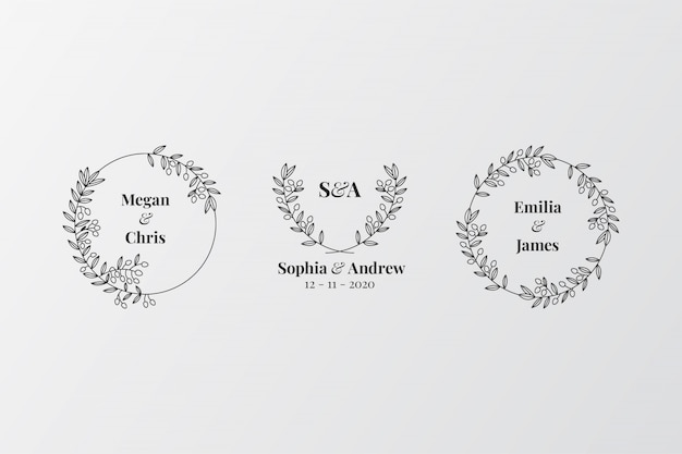 Ensemble de monogrammes de mariage élégants