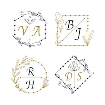 Ensemble de monogrammes de mariage plat linéaire