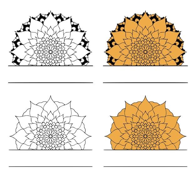Un ensemble de monogrammes personnalisés en forme de mandalas fleuris. clipart vectoriel.