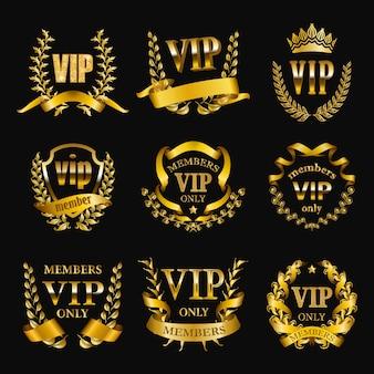 Ensemble de monogrammes vip or pour la conception graphique sur fond noir