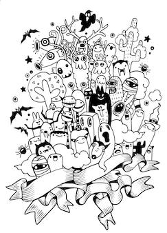 Ensemble de monstre affreux moche dessiné à la main