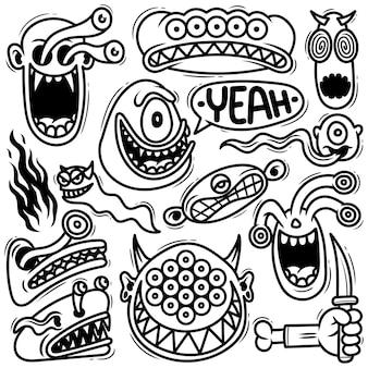 Ensemble, monstre, griffonnage, dessiné, griffonnage