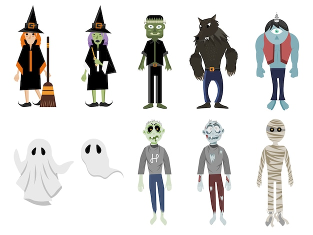 Ensemble de monstre d'halloween