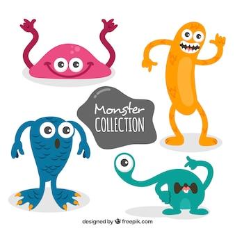 Ensemble de monstres colorés dans un style dessiné à la main