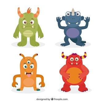 Ensemble de monstres colorés